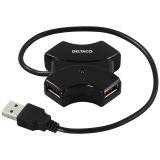DELTACO USB 2.0 hub, 4xTyp A portar, 0,4m, svart