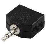DELTACO Y-adapter för ljud, 1 x 3,5 mm ha till 2 x 3,5 mm ho